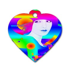 Abstract Color Dream Dog Tag Heart (one Side) by icarusismartdesigns