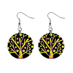 Simple Colorful Tree Mini Button Earrings by Valentinaart
