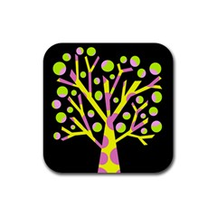 Simple Colorful Tree Rubber Coaster (square)  by Valentinaart