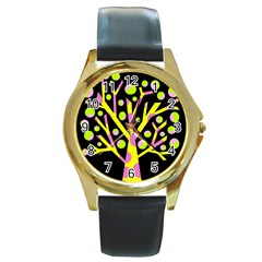 Simple Colorful Tree Round Gold Metal Watch by Valentinaart