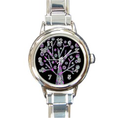 Purple Magical Tree Round Italian Charm Watch by Valentinaart