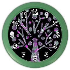 Purple Magical Tree Color Wall Clocks by Valentinaart