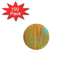 Beautiful Abstract In Orange, Aqua, Gold 1  Mini Magnets (100 Pack)  by theunrulyartist