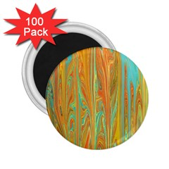 Beautiful Abstract In Orange, Aqua, Gold 2 25  Magnets (100 Pack)  by theunrulyartist