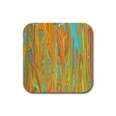 Beautiful Abstract In Orange, Aqua, Gold Rubber Square Coaster (4 Pack)  by theunrulyartist