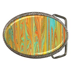 Beautiful Abstract In Orange, Aqua, Gold Belt Buckles by theunrulyartist