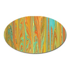 Beautiful Abstract In Orange, Aqua, Gold Oval Magnet by theunrulyartist