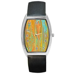 Beautiful Abstract In Orange, Aqua, Gold Barrel Style Metal Watch by theunrulyartist