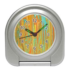 Beautiful Abstract In Orange, Aqua, Gold Travel Alarm Clocks by theunrulyartist