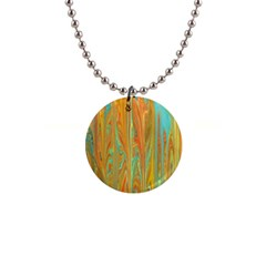 Beautiful Abstract In Orange, Aqua, Gold Button Necklaces by theunrulyartist