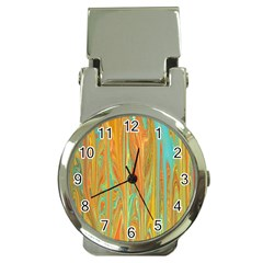 Beautiful Abstract In Orange, Aqua, Gold Money Clip Watches by theunrulyartist