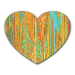 Beautiful Abstract In Orange, Aqua, Gold Heart Mousepads by theunrulyartist