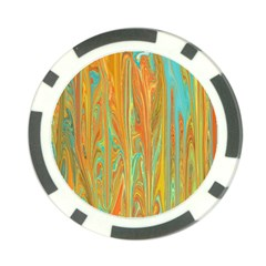 Beautiful Abstract In Orange, Aqua, Gold Poker Chip Card Guards by theunrulyartist