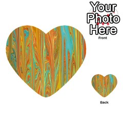 Beautiful Abstract In Orange, Aqua, Gold Multi Purpose Cards (heart)  by theunrulyartist