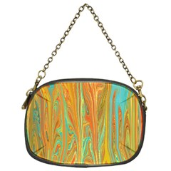 Beautiful Abstract In Orange, Aqua, Gold Chain Purses (one Side)  by theunrulyartist