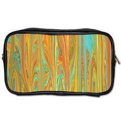 Beautiful Abstract In Orange, Aqua, Gold Toiletries Bags 2 Side by theunrulyartist