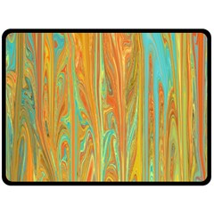 Beautiful Abstract In Orange, Aqua, Gold Fleece Blanket (large)  by theunrulyartist