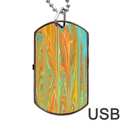 Beautiful Abstract In Orange, Aqua, Gold Dog Tag Usb Flash (two Sides)  by theunrulyartist