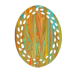 Beautiful Abstract In Orange, Aqua, Gold Ornament (oval Filigree)  by theunrulyartist