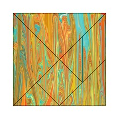 Beautiful Abstract In Orange, Aqua, Gold Acrylic Tangram Puzzle (6  X 6 ) by theunrulyartist