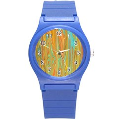 Beautiful Abstract In Orange, Aqua, Gold Round Plastic Sport Watch (s) by theunrulyartist