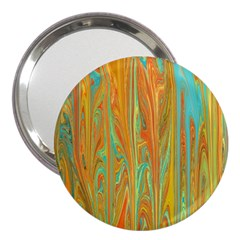 Beautiful Abstract In Orange, Aqua, Gold 3  Handbag Mirrors by theunrulyartist