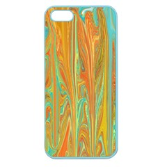 Beautiful Abstract In Orange, Aqua, Gold Apple Seamless Iphone 5 Case (color) by digitaldivadesigns