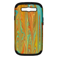 Beautiful Abstract In Orange, Aqua, Gold Samsung Galaxy S Iii Hardshell Case (pc+silicone) by theunrulyartist