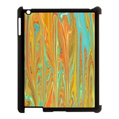 Beautiful Abstract In Orange, Aqua, Gold Apple Ipad 3/4 Case (black) by theunrulyartist