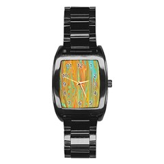 Beautiful Abstract in Orange, Aqua, Gold Stainless Steel Barrel Watch by theunrulyartist