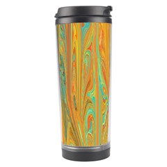 Beautiful Abstract In Orange, Aqua, Gold Travel Tumbler by theunrulyartist