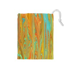 Beautiful Abstract In Orange, Aqua, Gold Drawstring Pouches (medium)  by theunrulyartist