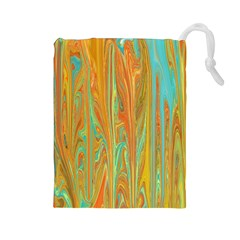 Beautiful Abstract In Orange, Aqua, Gold Drawstring Pouches (large)  by theunrulyartist