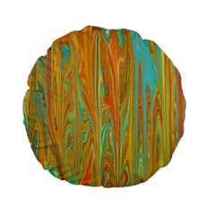 Beautiful Abstract In Orange, Aqua, Gold Standard 15  Premium Flano Round Cushions by digitaldivadesigns
