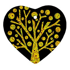 Yellow Magical Tree Ornament (heart)  by Valentinaart