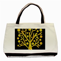 Yellow Magical Tree Basic Tote Bag (two Sides) by Valentinaart