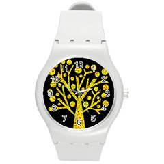 Yellow Magical Tree Round Plastic Sport Watch (m) by Valentinaart