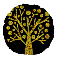Yellow Magical Tree Large 18  Premium Flano Round Cushions by Valentinaart