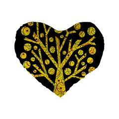 Yellow Magical Tree Standard 16  Premium Flano Heart Shape Cushions by Valentinaart