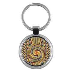Gold Blue And Red Swirl Pattern Key Chains (round)  by theunrulyartist
