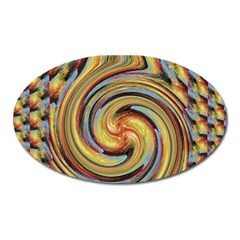 Gold Blue And Red Swirl Pattern Oval Magnet by theunrulyartist
