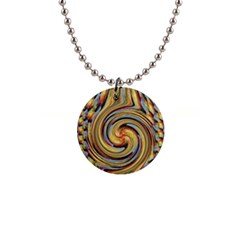 Gold Blue And Red Swirl Pattern Button Necklaces by theunrulyartist