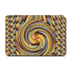 Gold Blue And Red Swirl Pattern Small Doormat  by theunrulyartist