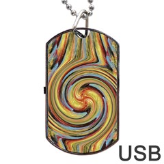 Gold Blue And Red Swirl Pattern Dog Tag Usb Flash (two Sides)  by theunrulyartist