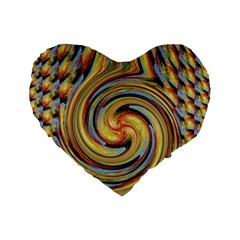 Gold Blue And Red Swirl Pattern Standard 16  Premium Flano Heart Shape Cushions by theunrulyartist