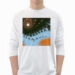 Sun Ray Swirl Design White Long Sleeve T Shirts