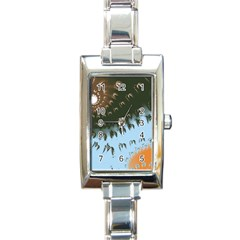 Sun Ray Swirl Design Rectangle Italian Charm Watch