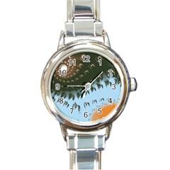 Sun Ray Swirl Design Round Italian Charm Watch by theunrulyartist