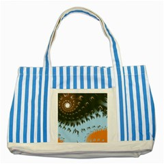 Sun Ray Swirl Design Striped Blue Tote Bag by theunrulyartist