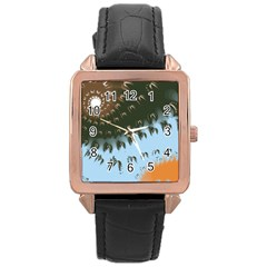 Sun Ray Swirl Design Rose Gold Leather Watch